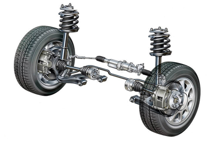 car front suspension with wheels and tyres